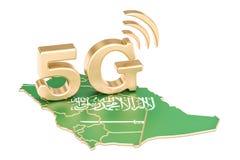 5G in het concept van Saudi-Arabië, het 3D teruggeven Stock Foto