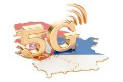 5G in het concept van Servië, het 3D teruggeven Stock Fotografie