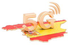 5G in het concept van Spanje, het 3D teruggeven Stock Foto's