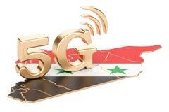 5G in het concept van Syrië, het 3D teruggeven Stock Foto's
