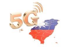 5G in het concept van Taiwan, het 3D teruggeven Stock Foto