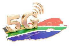 5G in het concept van Zuid-Afrika, het 3D teruggeven Royalty-vrije Stock Afbeeldingen