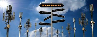 5G het concepten 3D teken van de wereldrevolutie stock illustratie