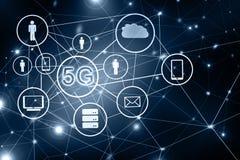 5G het mobiele draadloze concept van k Internet Het beste Concept van Internet globale zaken van conceptenreeks Symbool van Royalty-vrije Stock Fotografie