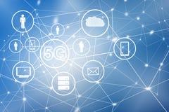 5G het mobiele draadloze concept van k Internet Kaart van handen Het beste Concept van Internet globale zaken van conceptenreeks Royalty-vrije Stock Foto's