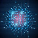 5g het Webnetwerk verbindt satellieten rond de aarde Het abstracte concepten globale Web verbindt en mededelingen in een telefoon stock illustratie