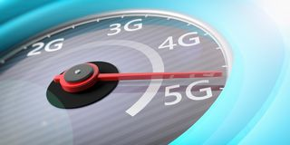 5G High speed network connection. Reaching 5g, speedometer closeup view. 3d illustration stock illustration