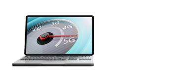 5G High speed network connection, speedometer on a computer laptop screen, isolated on white background, banner. 3d illustration stock illustration
