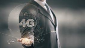 4G with hologram businessman concept