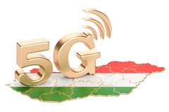 5G in Hungary concept, 3D rendering. Isolated on white background Royalty Free Stock Images