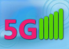 5g Icon on Abstract Background royalty free stock photography