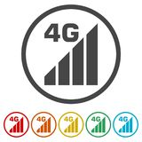 4G icon, 4g network icon, 6 Colors Included. Simple vector icons set Royalty Free Stock Photography