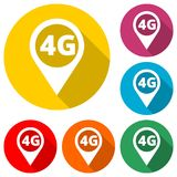 4G icon, 4g network icon, map pointer color icon with long shadow. Simple vector icons set Stock Photography