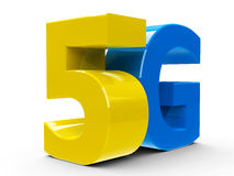 5G icon isometry. Yellow and blue 5g symbol, icon or button isolated on white background, three-dimensional rendering, 3D illustration Royalty Free Stock Photo