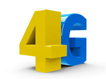 4G icon isometry. Yellow and blue 4g symbol, icon or button on white background, three-dimensional rendering royalty free illustration