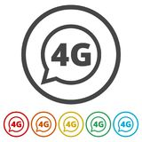 4G icon, 4g network icon, 6 Colors Included. Simple vector icons set Royalty Free Stock Image