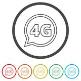4G icon, 4g network icon, 6 Colors Included. Simple vector icons set royalty free illustration