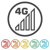 4G icon, 4g network icon, 6 Colors Included. Simple vector icons set stock illustration