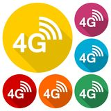 4G icons set with long shadow. Vector icon stock illustration