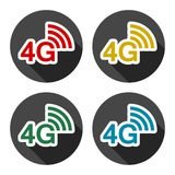 4G icons set with long shadow. Vector icon Royalty Free Stock Image