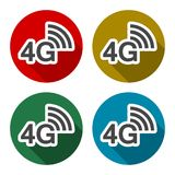 4G icons set with long shadow. Vector icon royalty free illustration