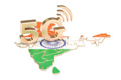 5G in India concept, 3D rendering. Isolated on white background Stock Photography