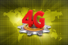 4G, internet concept with gear. In color background Stock Photos