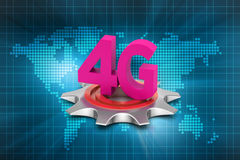 4G, internet concept with gear. In color background Royalty Free Stock Photo