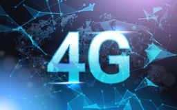 4g Internet Connection Speed Sign Over Futuristic Low Poly Mesh Wireframe On Blue Background. Vector Illustration Stock Image