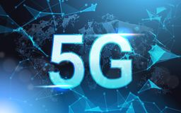 5g Internet Connection Speed Sign Over Futuristic Low Poly Mesh Wireframe On Blue Background. Vector Illustration stock illustration