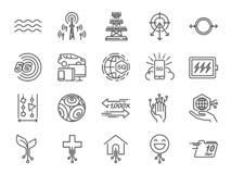 5G internet line icon set. Included icons as IOT, internet of things, bandwidth, signal, devices and more. royalty free illustration