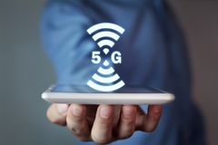 5G internet and network concept. Internet stock images