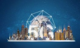 5G internet networking technology, Digital tablet with building hologram and 5G technology. Element of this image are furnished by. 5G internet networking royalty free stock photography