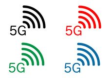 5G interneta wifi nowy bezprzewodowy związek ustalonego ikon 5 g nowego pokolenia sieci mobilna ikona, wektoru tło -, odizolowywa ilustracja wektor