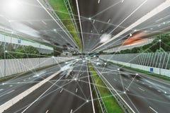 5G, IOT, Bezprzewodowa sieć komunikacyjna, transport, autostrada zdjęcie royalty free