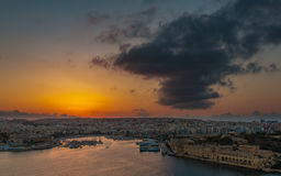 Gżira & Ta' Xbiex Sunset I. This is a picture of the sun setting in the districts of Gżira & Ta' Xbiex (Malta Royalty Free Stock Photos