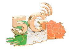 5G in Ireland concept, 3D rendering. Isolated on white background Royalty Free Stock Photos