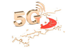 5G in Japan concept, 3D rendering. Isolated on white background Royalty Free Stock Photo