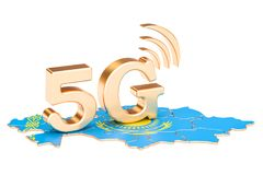 5G in Kazakhstan concept, 3D rendering. Isolated on white background Royalty Free Stock Image