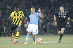 Gökhan Inler and Sekou Sanogo Young Boys Berne v FC Naples Liga Europa Stock Image