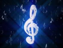 G-klav som omges av musikaliska symboler royaltyfri illustrationer