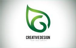G Leaf Logo Letter Design with Green Leaf Outline Royalty Free Stock Images
