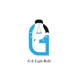 G-letter/alphabet icon and light bulb abstract logo design. Vector template.Corporate business and industrial logotype idea concept.Vector illustration Stock Images