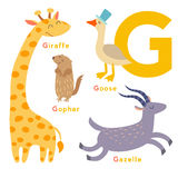 G letter animals set. English alphabet. Vector illustration Royalty Free Stock Photo