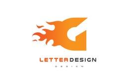 G Letter Flame Logo Design. Fire Logo Lettering Concept. Stock Images