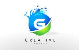 G Letter Logo. Blue Green Splash Design Vector Stock Photography