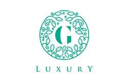 G Letter Logo Luxury.Beauty Cosmetics Logo. G Letter Logo Luxury. Green Beauty Cosmetics Logo Monogram Royalty Free Stock Photo