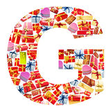 G Letter   made of giftboxes Royalty Free Stock Image
