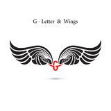 G-letter sign and angel wings.Monogram wing logo mockup.Classic Stock Photo