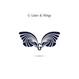 G-letter sign and angel wings.Monogram wing vector logo template Royalty Free Stock Photos